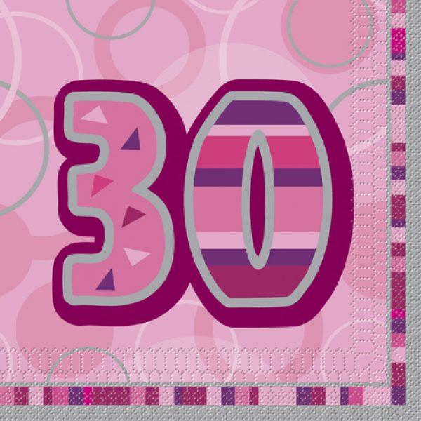 16 30. Geburtstag Servietten Pink Glitz-0