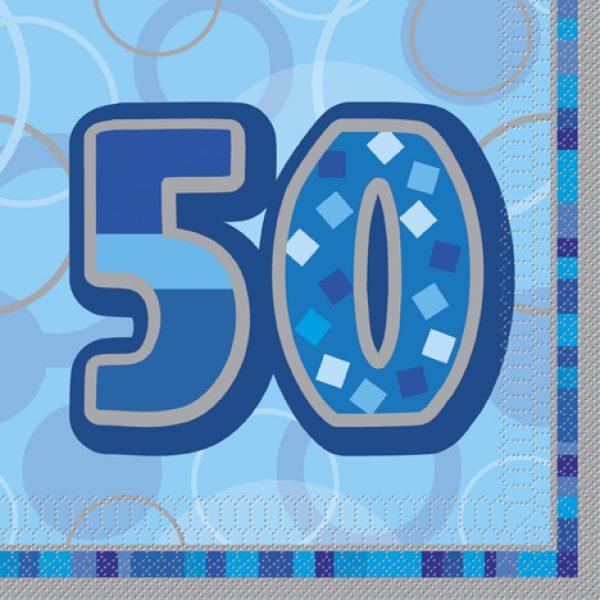16 50. Geburtstag Servietten Blau Glitz-0