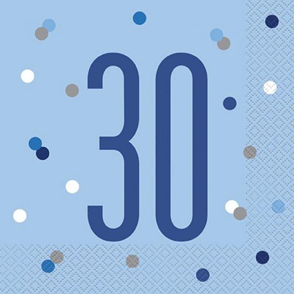 """16 Servietten """"30"""" Blau Glitz-0"""