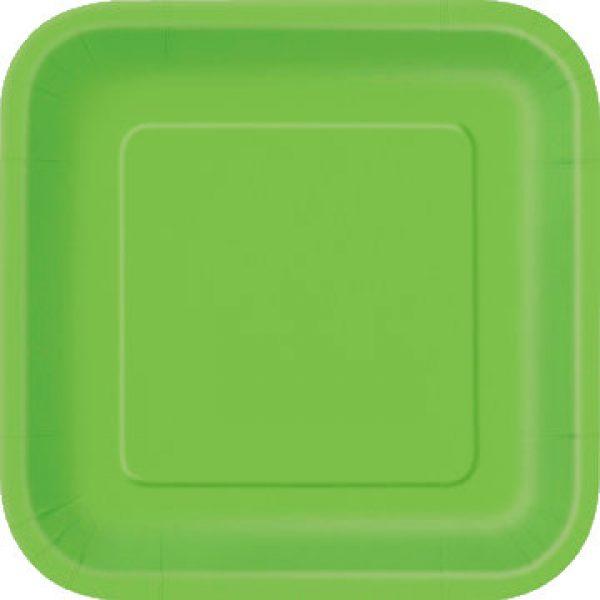 14 Square Pappteller Lime Grün 23 cm-0