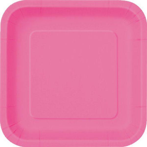 14 Square Pappteller Pink 23 cm-0