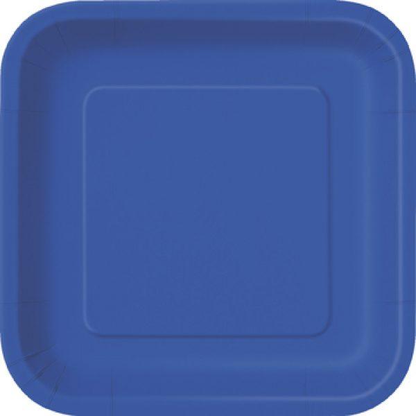 14 Square Pappteller Royalblau 23 cm-0