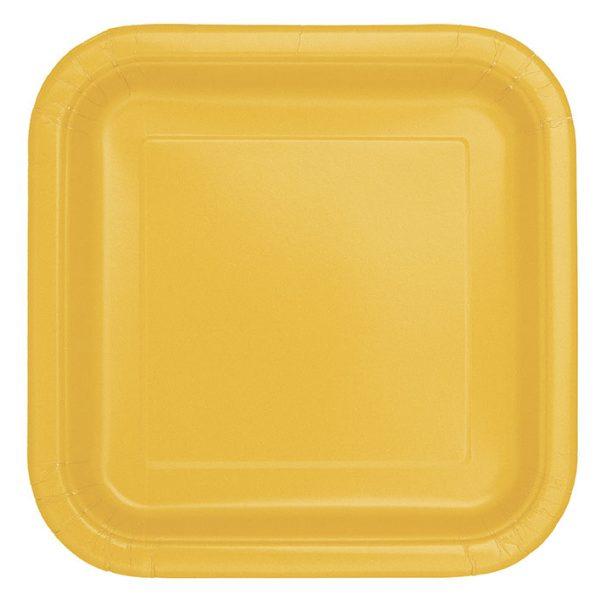 14 Square Pappteller Gelb 23 cm-0