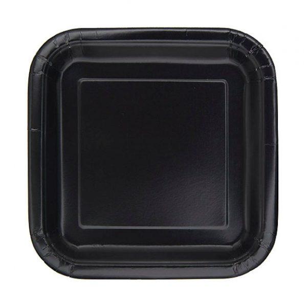 16 Square Pappteller Schwarz 18 cm-0