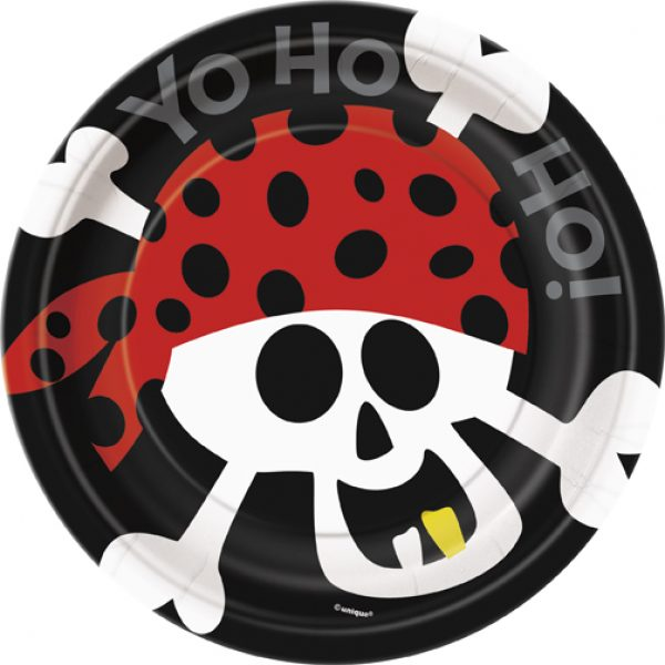 8 Pirat Ahoi Pappteller 18 cm-0