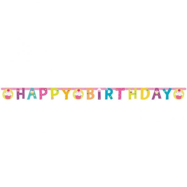Happy Birthday Cupcake Girlande 1,8 m-804