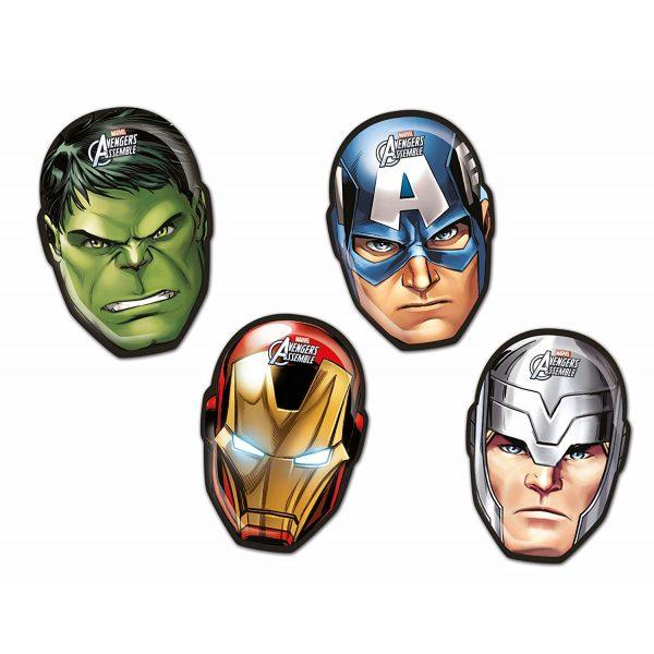 4 Avengers Kopf Form Pappteller-0