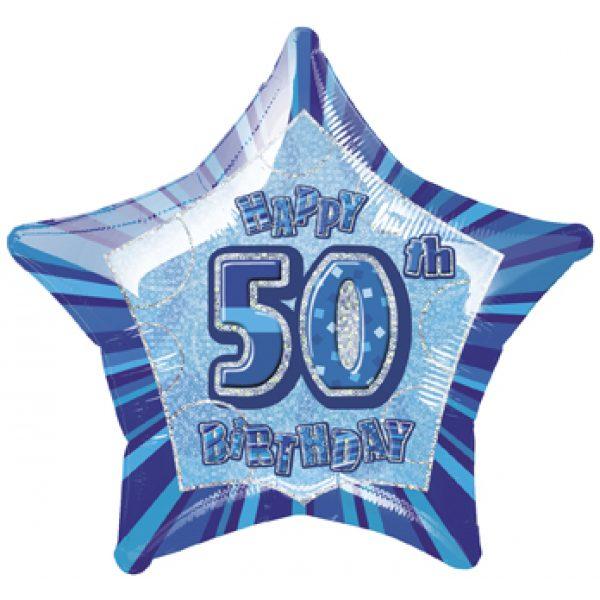 Happy 50 Birthday Blau Glitz Folienballon (50 cm)-0