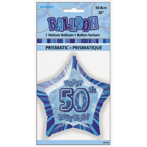 Happy 50 Birthday Blau Glitz Folienballon (50 cm)-920