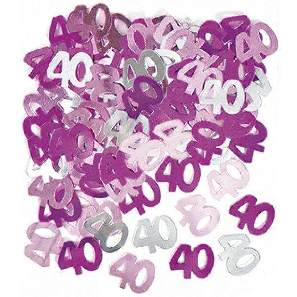 """Konfetti """"40"""" Pink Glitz -0"""