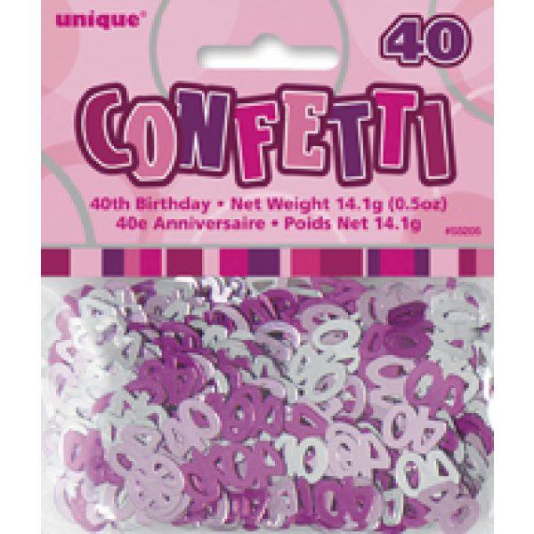 """Konfetti """"40"""" Pink Glitz -736"""