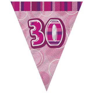 30. Geburtstag Wimpelkette Pink Glitz-0