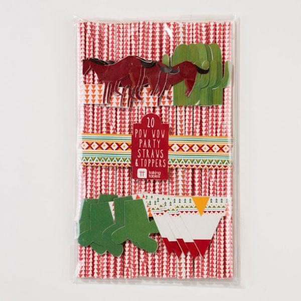 20 Indianer Pow Wow Papier Strohhalme-0