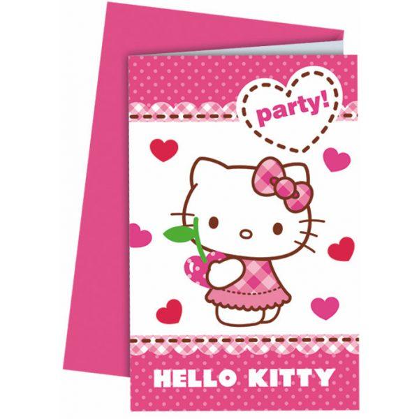 6 Hello Kitty Einladungen-0