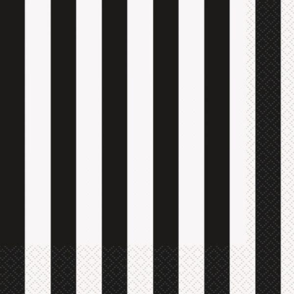 16 Servietten Schwarz Weiß Streifen 33 cm-0