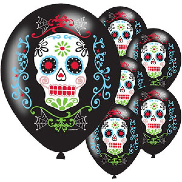 6 Day of the Dead Latex Ballons 28 cm-0