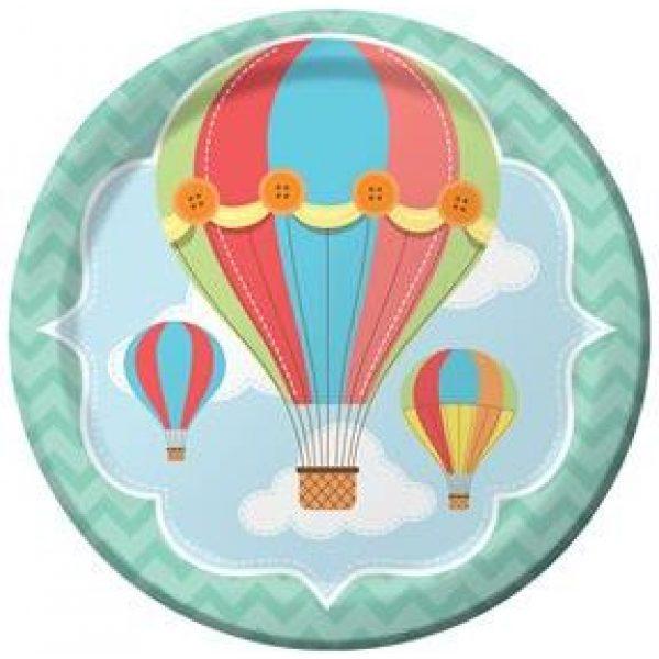 8 Up Up & Away Heissluftballon Pappteller-0