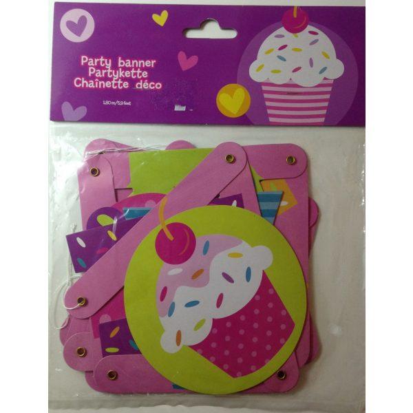 Happy Birthday Cupcake Girlande 1,8 m-0