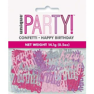 "Konfetti ""Happy Birthday"" Pink Glitz -0"