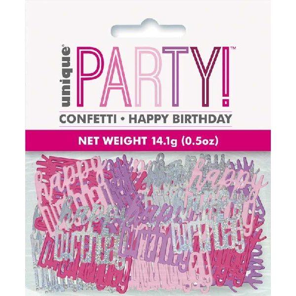 """Konfetti """"Happy Birthday"""" Pink Glitz -0"""