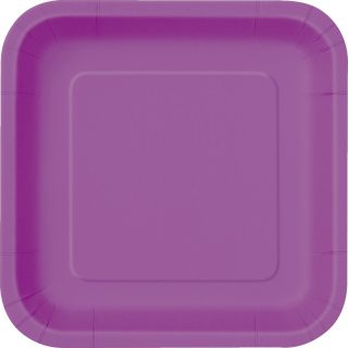 14 Square Pappteller Lila 23 cm-0