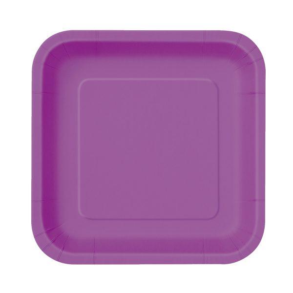 16 Square Pappteller Lila 18 cm-0