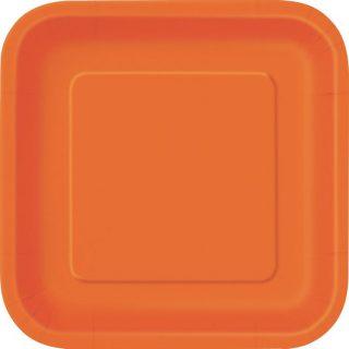 14 Square Pappteller Orange 23 cm-0