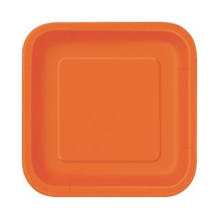 16 Square Pappteller Orange 18 cm-0