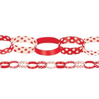 DIY Papier Girlande, rote Tupfen 1,5 m.-0