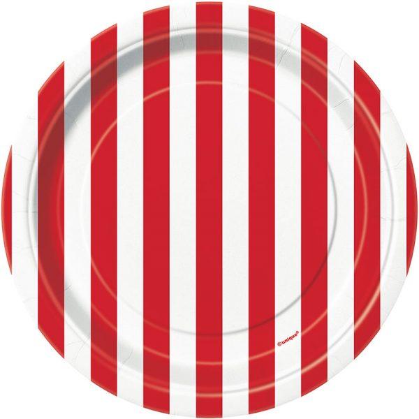 6 Pappteller Rot Weiß Streifen 18 cm-0