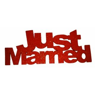 Just Married Holzschrift Tischdeko-0