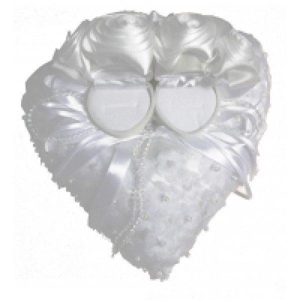 Ringkissen Herz mit Rosen mit aufklappbaren Ringschatullen-858