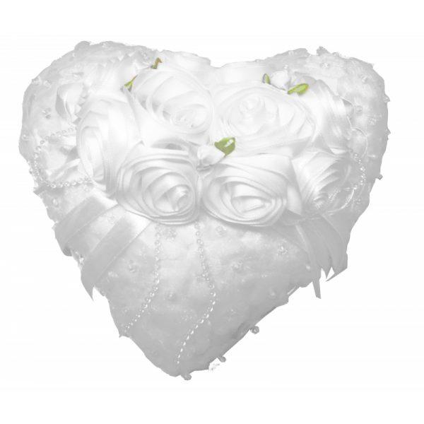 Ringkissen Herz mit Rosen mit aufklappbaren Ringschatullen-0