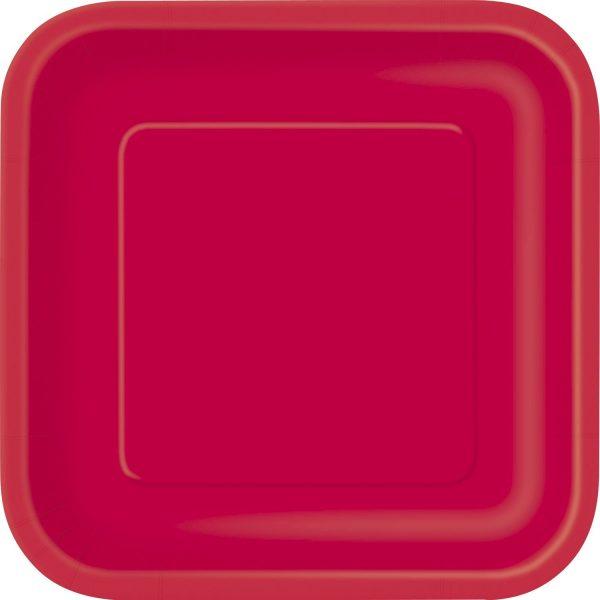 14 Square Pappteller Rot 23 cm-0