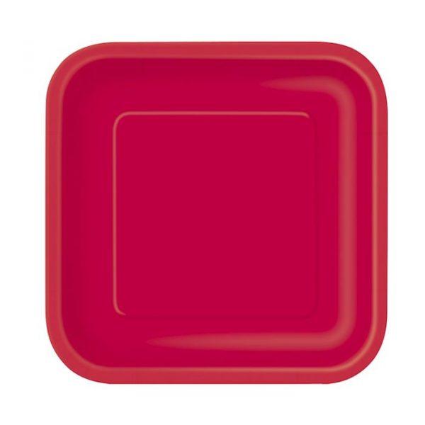 16 Square Pappteller Rot 18 cm-0