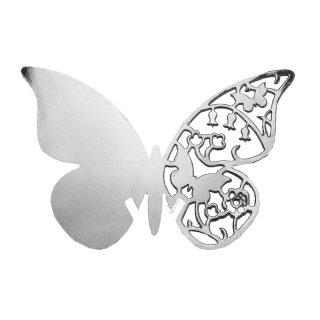 10 Silber Schmetterling Tischkarten für Weinglas -0