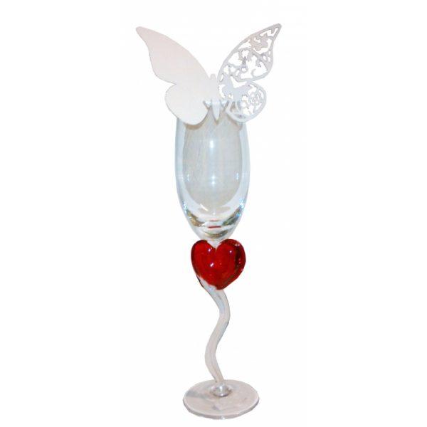 10 Silber Schmetterling Tischkarten für Weinglas -649