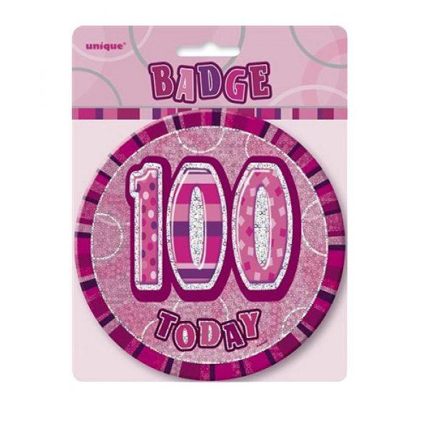 100 Geburtstag Pink Glitz Button 15 cm-1646