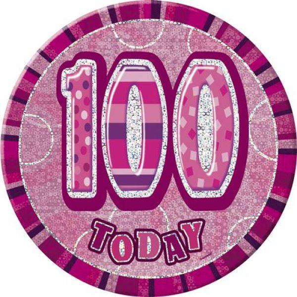 100 Geburtstag Pink Glitz Button 15 cm-0