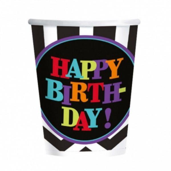 8 Pappbecher Schwarz Weiss Chevron Happy Birthday -0