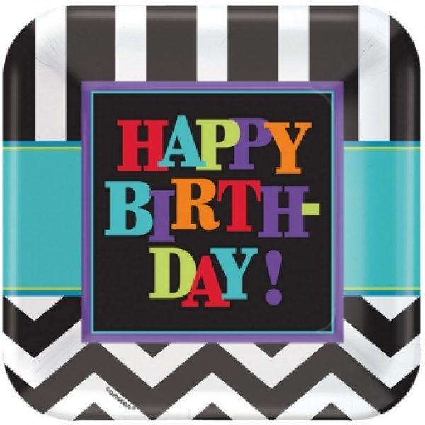 8 Schwarz Weiss Chevron Happy Birthday Teller-0