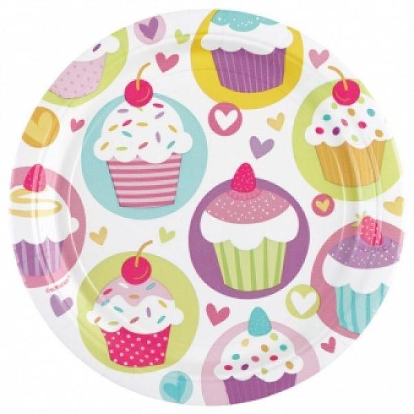 8 Cupcakes Pappteller-0