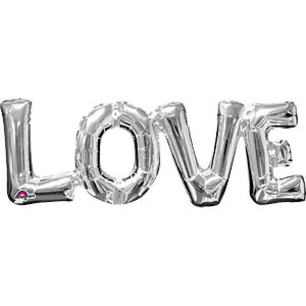 """""""Love"""" Buchstaben Silber Folienballons-0"""