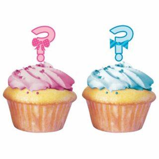 """12 """"Junge oder Mädchen"""" Fragezeichen Cupcake Picks-0"""
