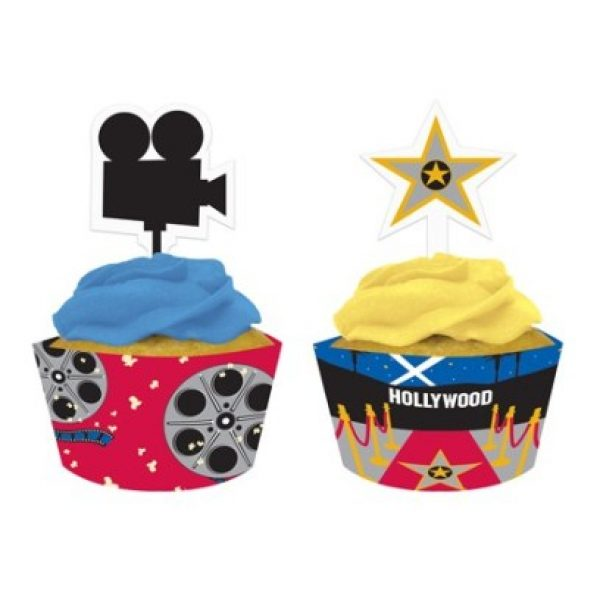 12 Hollywood Cupcake Wrappers & Picks-0