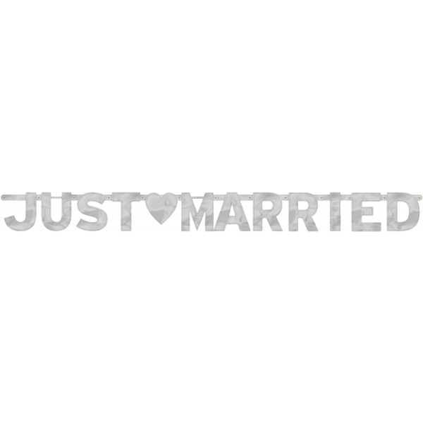 XL Just Married Silber Girlande-2164