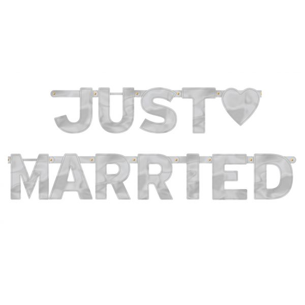 XL Just Married Silber Girlande-0