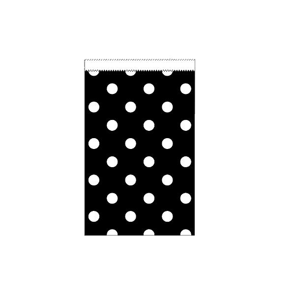 20 Mini Papiertüten Schwarz Weiß Dots-0