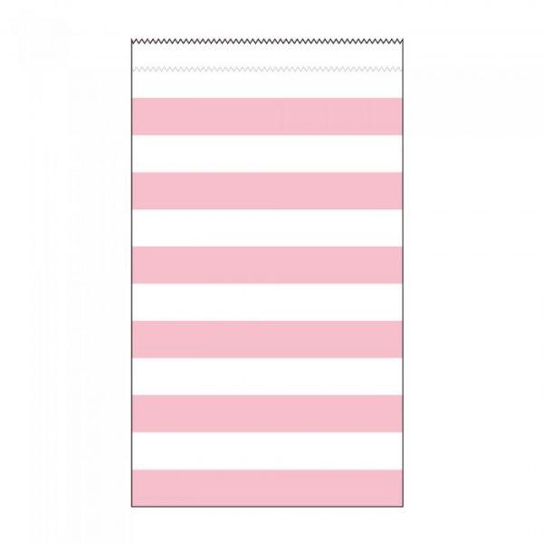15 Medium Papiertüten Rosa Weiß Stripes Streifen-0