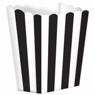 5 Treat Boxen Schwarz Weiß Gestreift-0